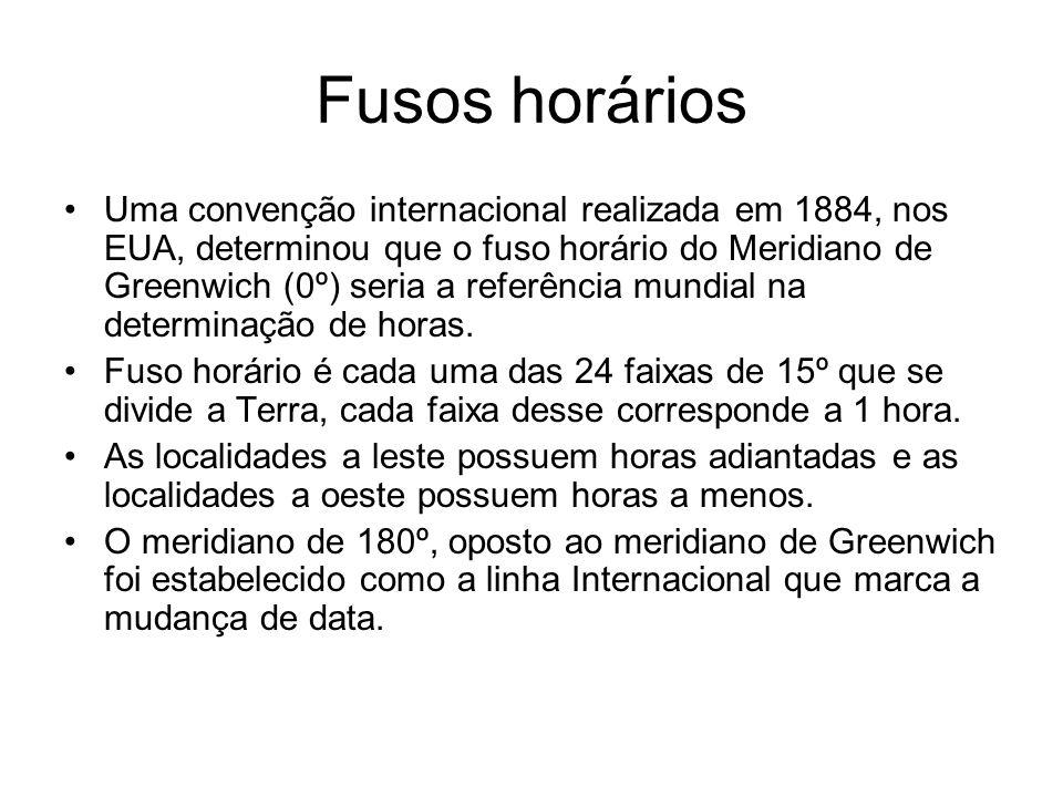 Fusos horários Uma convenção internacional realizada em 1884, nos EUA, determinou que o fuso horário do Meridiano de Greenwich (0º) seria a referência