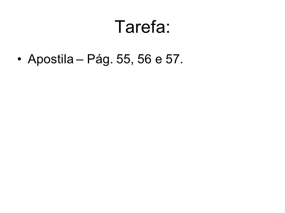 Tarefa: Apostila – Pág. 55, 56 e 57.