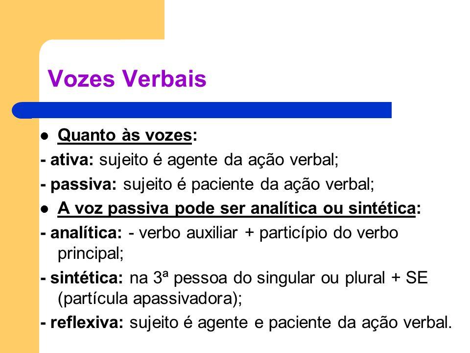 Vozes Verbais Quanto às vozes: - ativa: sujeito é agente da ação verbal; - passiva: sujeito é paciente da ação verbal; A voz passiva pode ser analític
