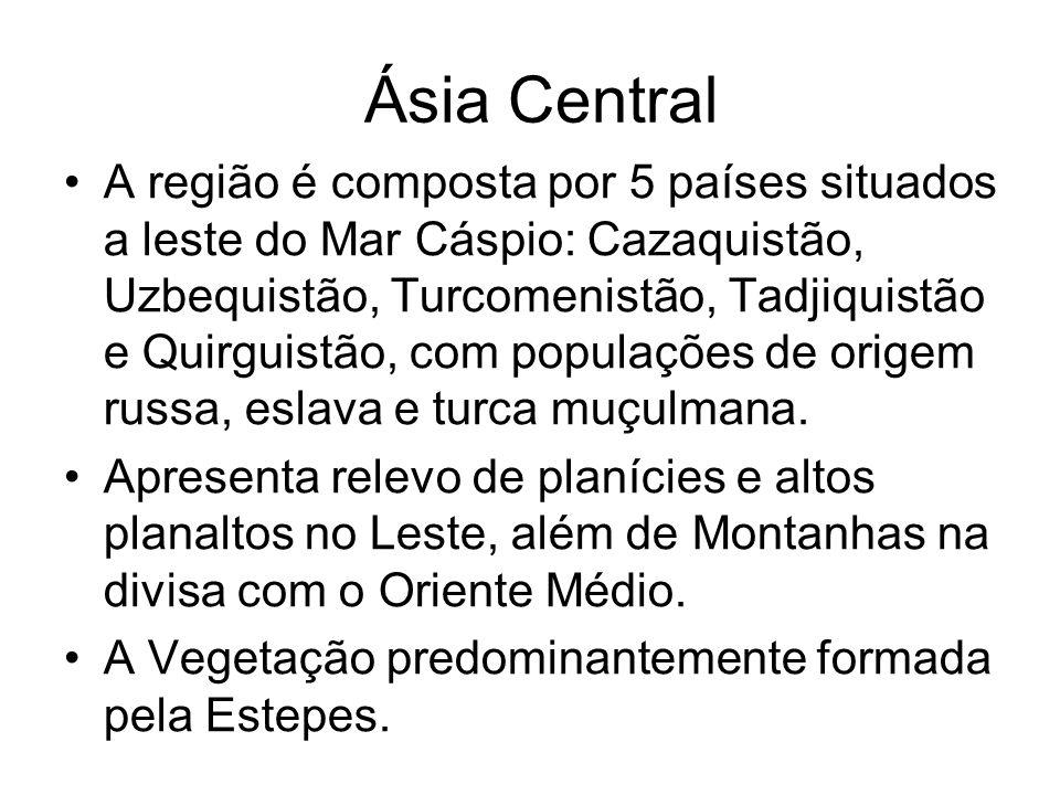 Ásia Central A região é composta por 5 países situados a leste do Mar Cáspio: Cazaquistão, Uzbequistão, Turcomenistão, Tadjiquistão e Quirguistão, com populações de origem russa, eslava e turca muçulmana.