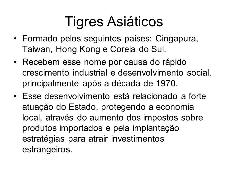 Tigres Asiáticos Formado pelos seguintes países: Cingapura, Taiwan, Hong Kong e Coreia do Sul.