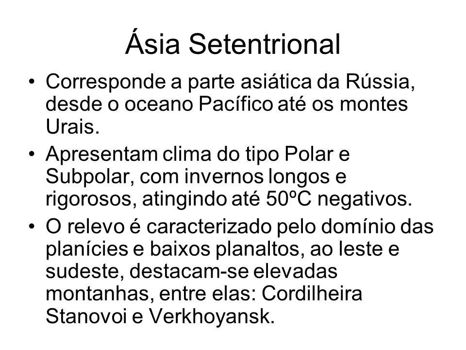 Ásia Setentrional Corresponde a parte asiática da Rússia, desde o oceano Pacífico até os montes Urais.