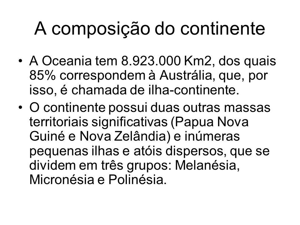 A composição do continente A Oceania tem 8.923.000 Km2, dos quais 85% correspondem à Austrália, que, por isso, é chamada de ilha-continente.