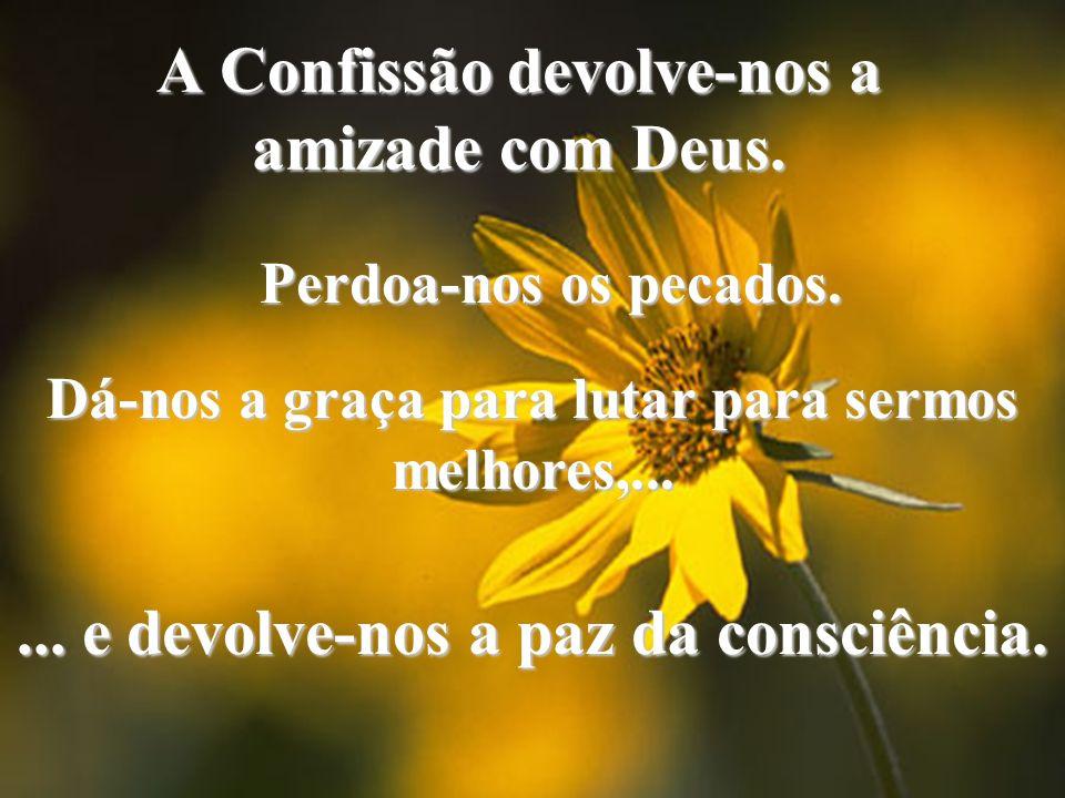 A Confissão devolve-nos a amizade com Deus.Perdoa-nos os pecados.