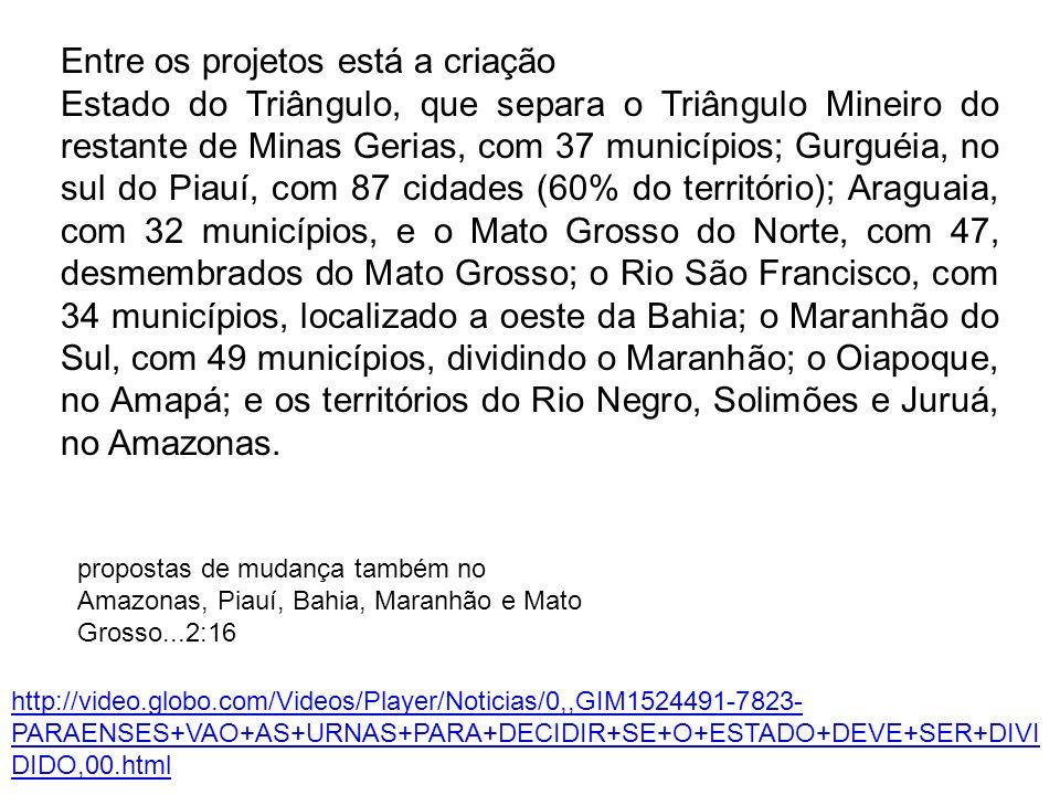 Entre os projetos está a criação Estado do Triângulo, que separa o Triângulo Mineiro do restante de Minas Gerias, com 37 municípios; Gurguéia, no sul do Piauí, com 87 cidades (60% do território); Araguaia, com 32 municípios, e o Mato Grosso do Norte, com 47, desmembrados do Mato Grosso; o Rio São Francisco, com 34 municípios, localizado a oeste da Bahia; o Maranhão do Sul, com 49 municípios, dividindo o Maranhão; o Oiapoque, no Amapá; e os territórios do Rio Negro, Solimões e Juruá, no Amazonas.
