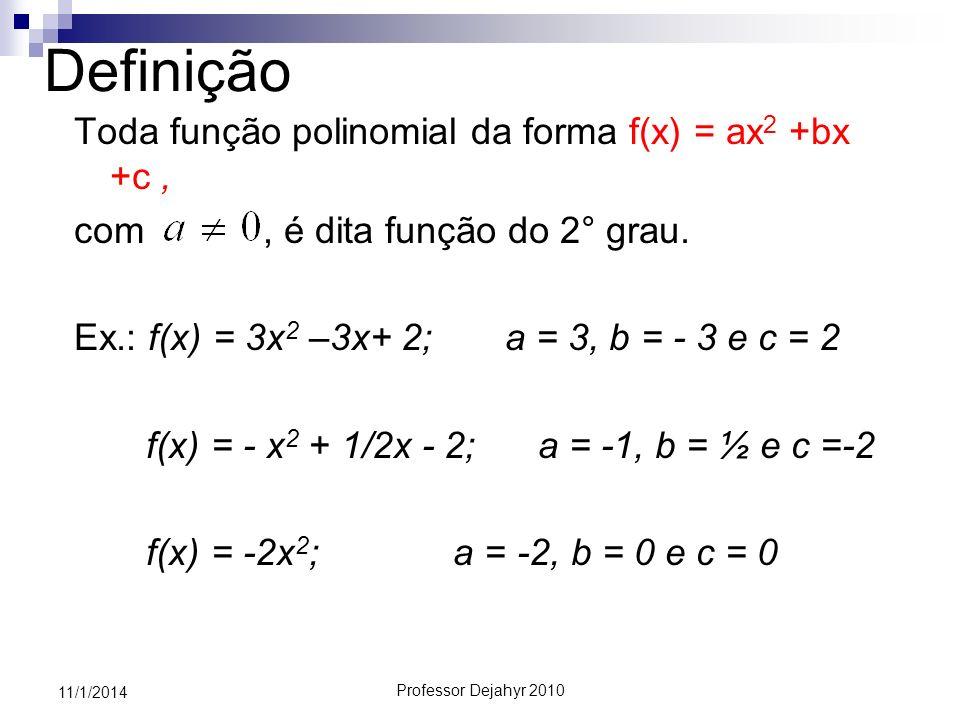 Professor Dejahyr 2010 11/1/2014 ESTUDO DO SINAL f(x) = a x 2 +bx+c a >0 (a é positivo então a função côncava para cima) Valor que aula a função é x e x.