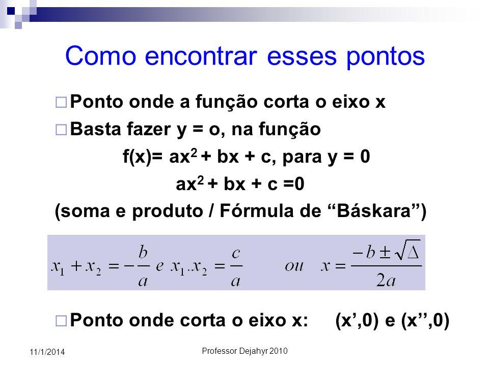Professor Dejahyr 2010 11/1/2014 Como encontrar esses pontos Ponto onde a função corta o eixo x Basta fazer y = o, na função f(x)= ax 2 + bx + c, para