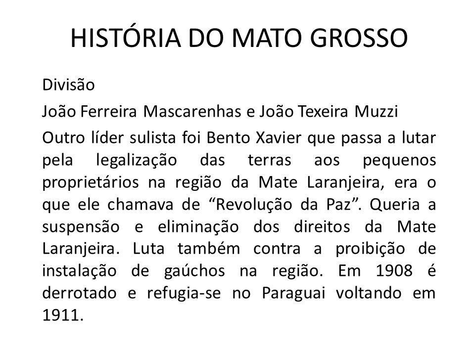HISTÓRIA DO MATO GROSSO Divisão João Ferreira Mascarenhas e João Texeira Muzzi Outro líder sulista foi Bento Xavier que passa a lutar pela legalização