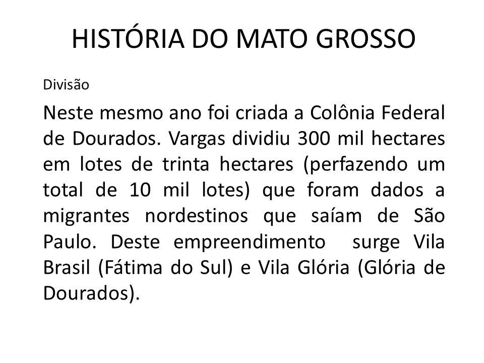 HISTÓRIA DO MATO GROSSO Divisão Neste mesmo ano foi criada a Colônia Federal de Dourados. Vargas dividiu 300 mil hectares em lotes de trinta hectares