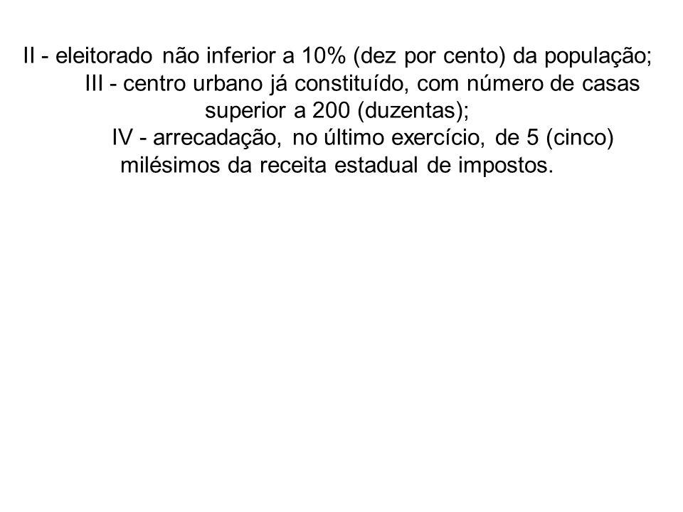 II - eleitorado não inferior a 10% (dez por cento) da população; III - centro urbano já constituído, com número de casas superior a 200 (duzentas); IV