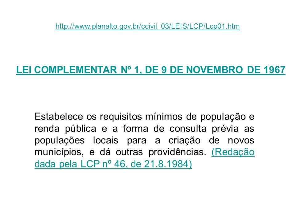 http://www.planalto.gov.br/ccivil_03/LEIS/LCP/Lcp01.htm LEI COMPLEMENTAR Nº 1, DE 9 DE NOVEMBRO DE 1967 Estabelece os requisitos mínimos de população