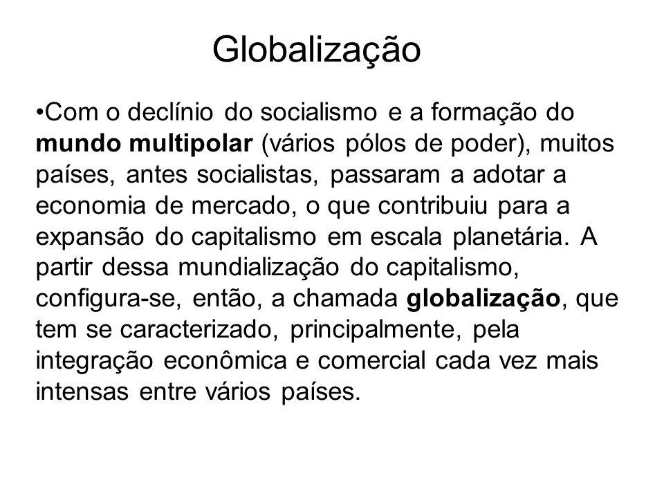 Globalização Com o declínio do socialismo e a formação do mundo multipolar (vários pólos de poder), muitos países, antes socialistas, passaram a adota