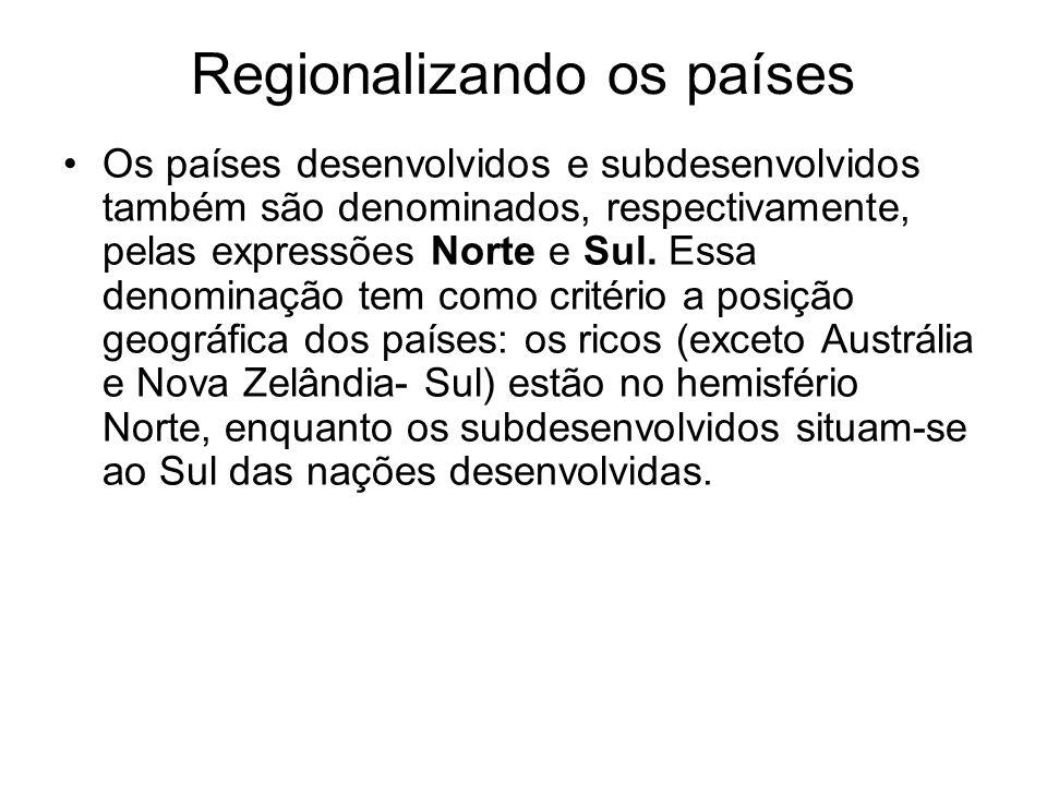 Regionalizando os países Os países desenvolvidos e subdesenvolvidos também são denominados, respectivamente, pelas expressões Norte e Sul. Essa denomi