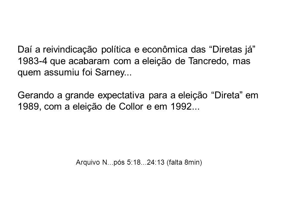 Daí a reivindicação política e econômica das Diretas já 1983-4 que acabaram com a eleição de Tancredo, mas quem assumiu foi Sarney... Gerando a grande