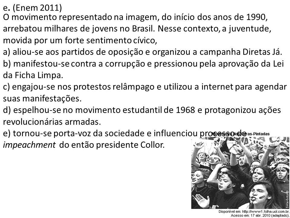 e. (Enem 2011) O movimento representado na imagem, do início dos anos de 1990, arrebatou milhares de jovens no Brasil. Nesse contexto, a juventude, mo