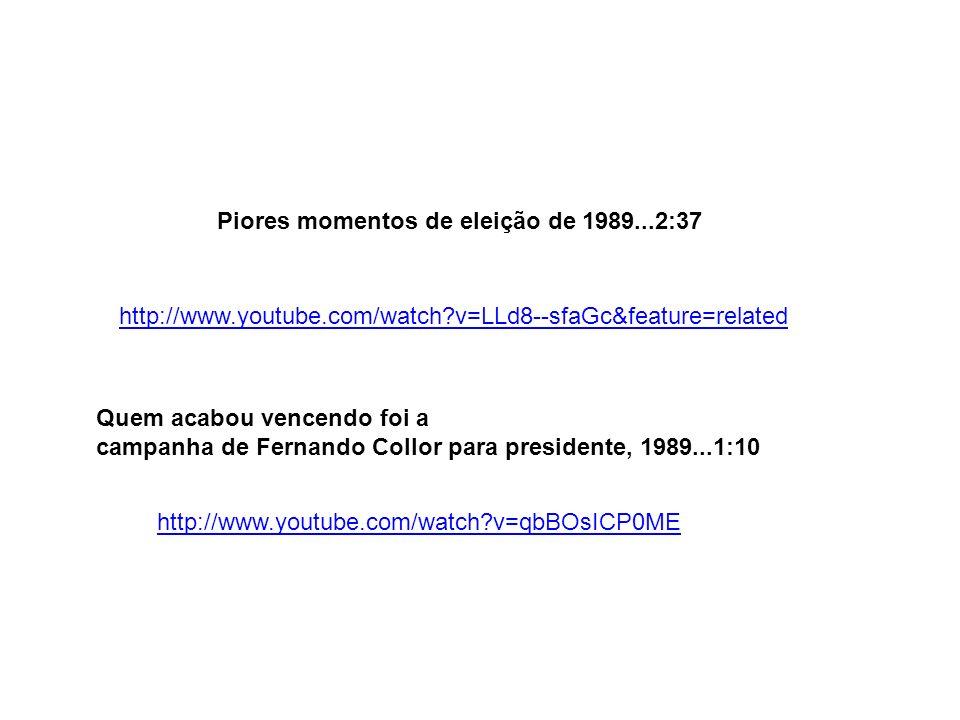 Collor foi eleito, mas em 29set1992 20 ANOS entrou para a história política do país como o primeiro presidente brasileiro a sofrer um impeachment...5:18 http://globotv.globo.com/globo-news/arquivo-n/v/impeachment-de-fernando- collor-completa-vinte-anos/2159462/