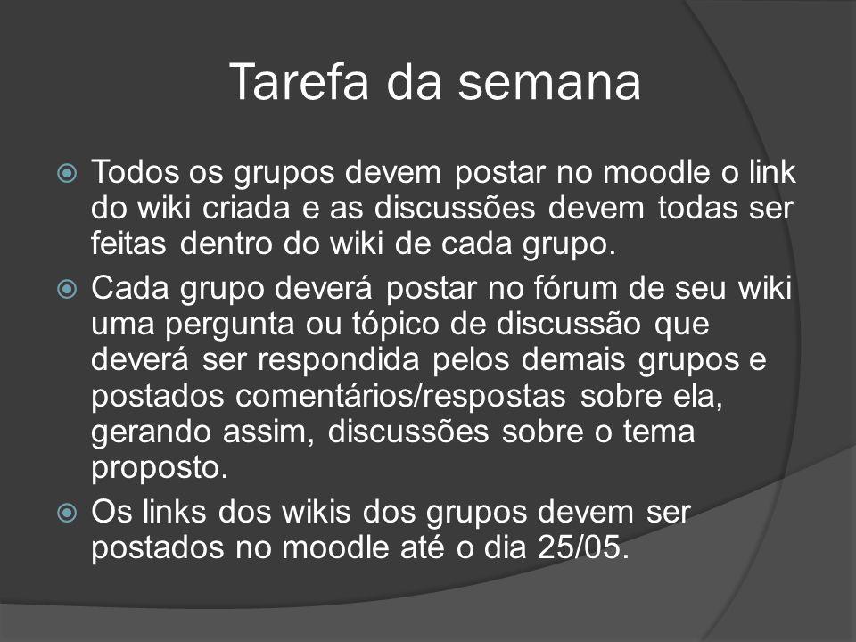 Tarefa da semana Todos os grupos devem postar no moodle o link do wiki criada e as discussões devem todas ser feitas dentro do wiki de cada grupo. Cad