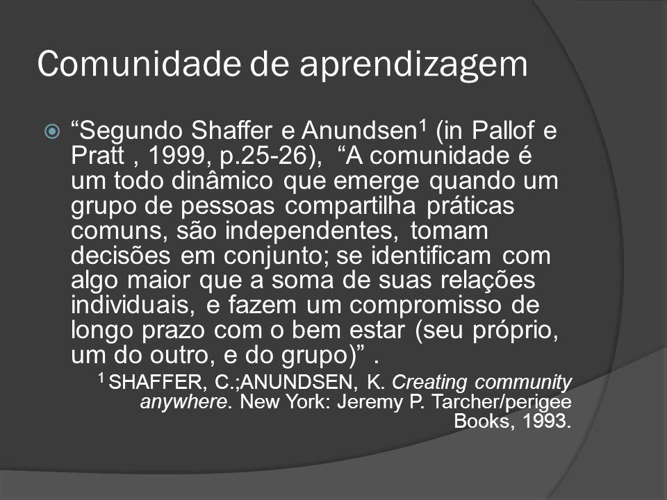 Comunidade de aprendizagem Segundo Shaffer e Anundsen 1 (in Pallof e Pratt, 1999, p.25-26), A comunidade é um todo dinâmico que emerge quando um grupo