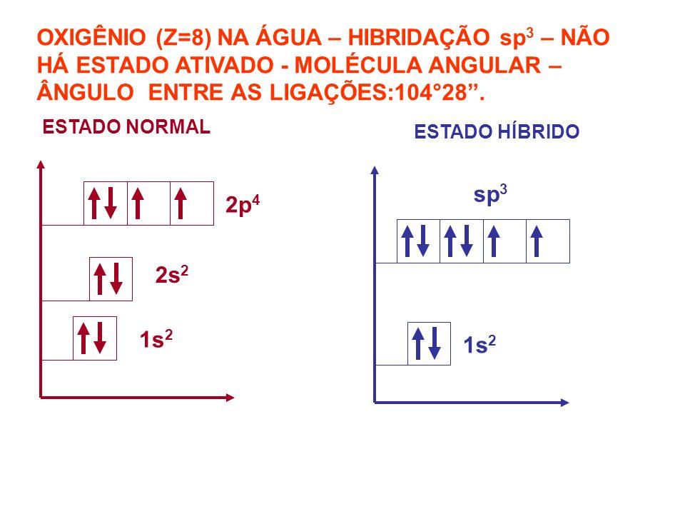 NITROGÊNIO (Z=7) NA AMÔNIA – HIBRIDAÇÃO sp 3 – NÃO HÁ ESTADO ATIVADO - MOLÉCULA PIRAMIDAL- – ÂNGULO ENTRE AS LIGAÇÕES:107°.