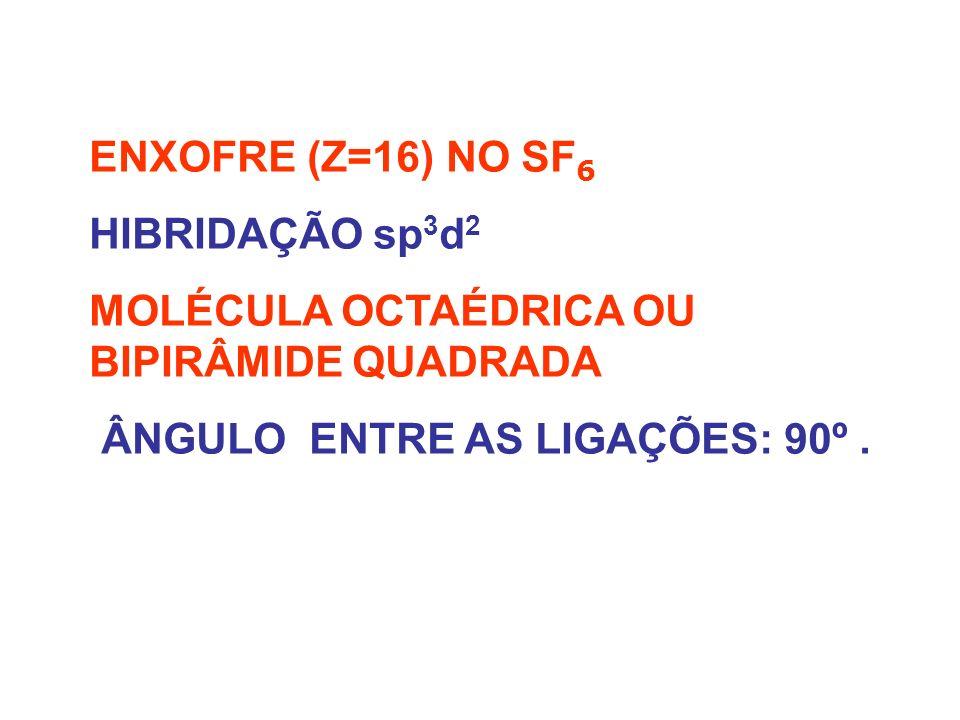 SF 6 – OCTAÉDRICA OU BIPIRÂMIDE DE BASE QUADRADA.