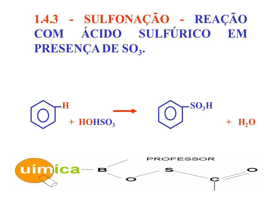 1.4.3 - SULFONAÇÃO - REAÇÃO COM ÁCIDO SULFÚRICO EM PRESENÇA DE SO 3. H SO 3 H + HOHSO 3 + H 2 O