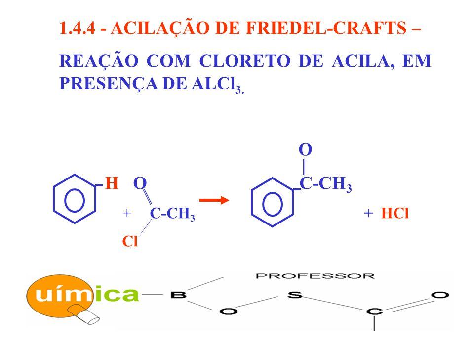 1.4.4 - ACILAÇÃO DE FRIEDEL-CRAFTS – REAÇÃO COM CLORETO DE ACILA, EM PRESENÇA DE ALCl 3. O H O C-CH 3 C-CH 3 + HCl Cl +