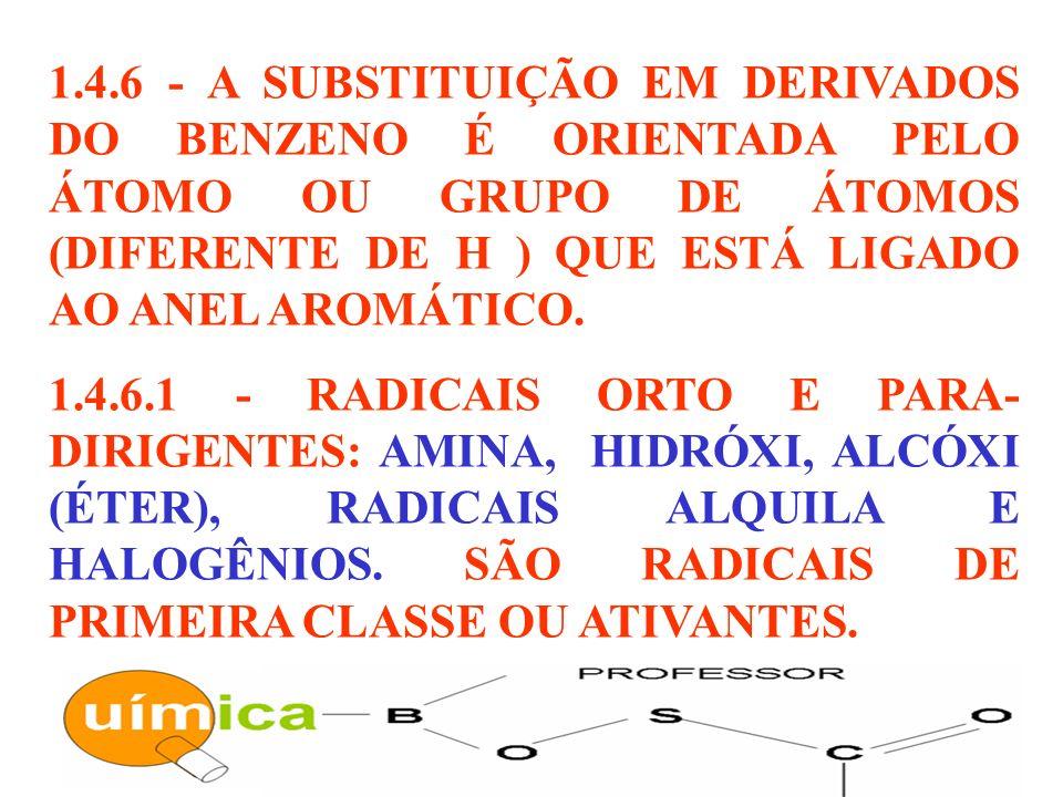 1.4.6 - A SUBSTITUIÇÃO EM DERIVADOS DO BENZENO É ORIENTADA PELO ÁTOMO OU GRUPO DE ÁTOMOS (DIFERENTE DE H ) QUE ESTÁ LIGADO AO ANEL AROMÁTICO. 1.4.6.1