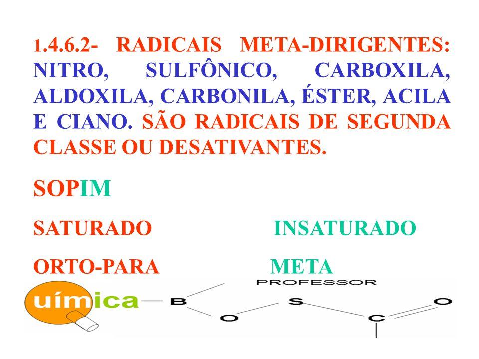1.4.6.2- RADICAIS META-DIRIGENTES: NITRO, SULFÔNICO, CARBOXILA, ALDOXILA, CARBONILA, ÉSTER, ACILA E CIANO. SÃO RADICAIS DE SEGUNDA CLASSE OU DESATIVAN