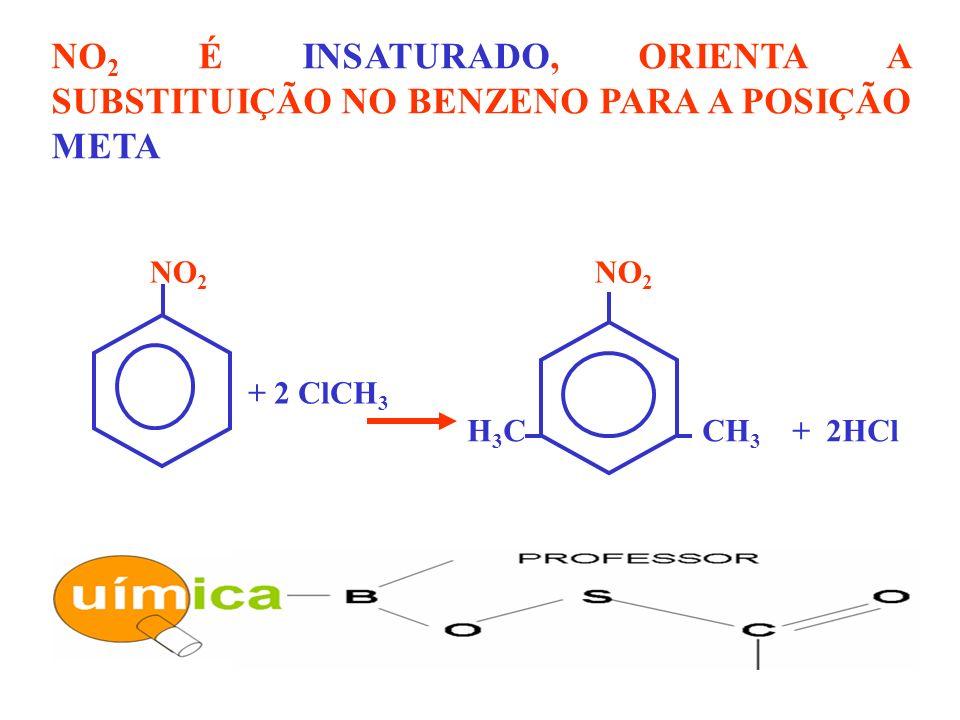 NO 2 É INSATURADO, ORIENTA A SUBSTITUIÇÃO NO BENZENO PARA A POSIÇÃO META NO 2 H 3 C CH 3 + 2HCl + 2 ClCH 3