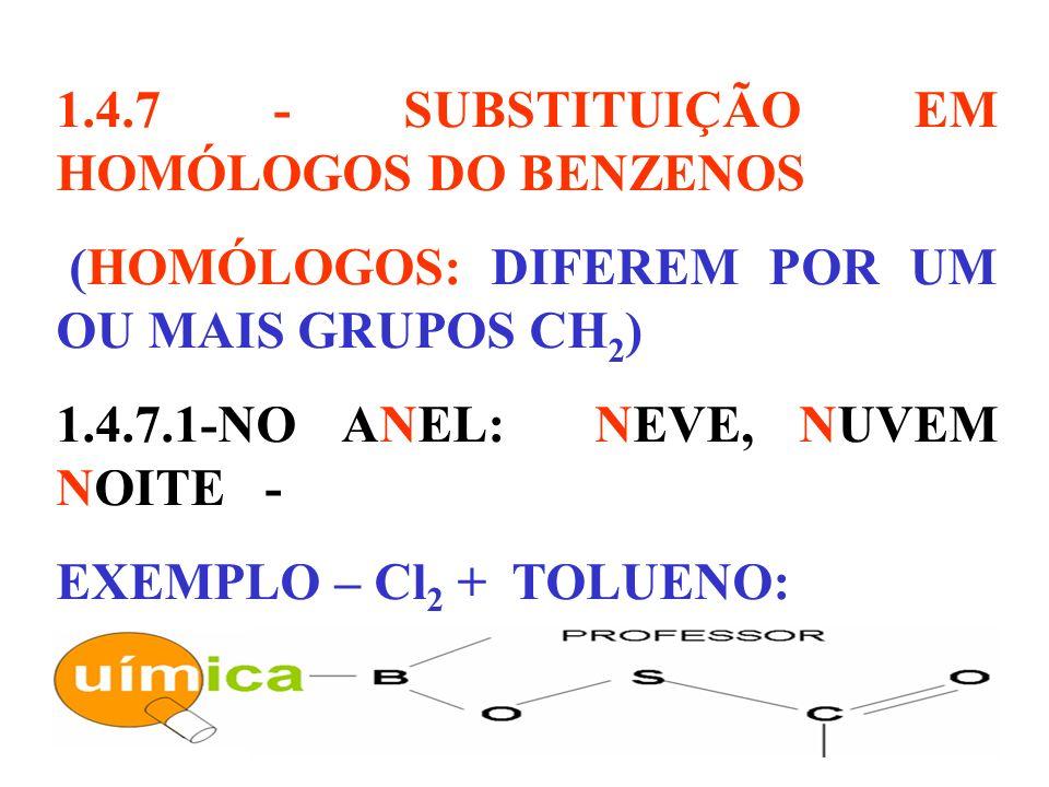 1.4.7 - SUBSTITUIÇÃO EM HOMÓLOGOS DO BENZENOS (HOMÓLOGOS: DIFEREM POR UM OU MAIS GRUPOS CH 2 ) 1.4.7.1-NO ANEL: NEVE, NUVEM NOITE - EXEMPLO – Cl 2 + T