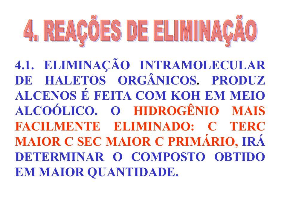 4.1. ELIMINAÇÃO INTRAMOLECULAR DE HALETOS ORGÂNICOS. PRODUZ ALCENOS É FEITA COM KOH EM MEIO ALCOÓLICO. O HIDROGÊNIO MAIS FACILMENTE ELIMINADO: C TERC