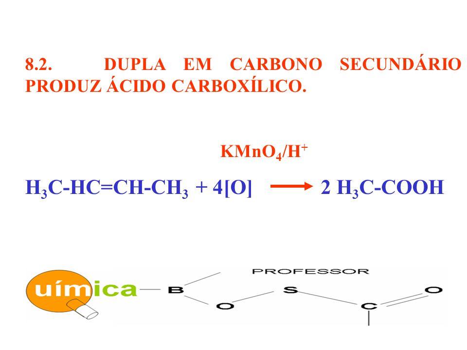 8.2. DUPLA EM CARBONO SECUNDÁRIO PRODUZ ÁCIDO CARBOXÍLICO. KMnO 4 /H + H 3 C-HC=CH-CH 3 + 4[O] 2 H 3 C-COOH