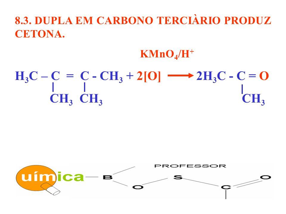8.3. DUPLA EM CARBONO TERCIÀRIO PRODUZ CETONA. KMnO 4 /H + H 3 C – C = C - CH 3 + 2[O] 2H 3 C - C = O CH 3 CH 3 CH 3