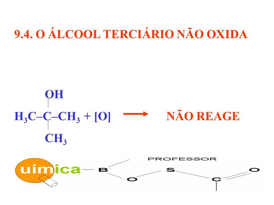9.4. O ÁLCOOL TERCIÁRIO NÃO OXIDA OH H 3 C–C–CH 3 + [O] NÃO REAGE CH 3