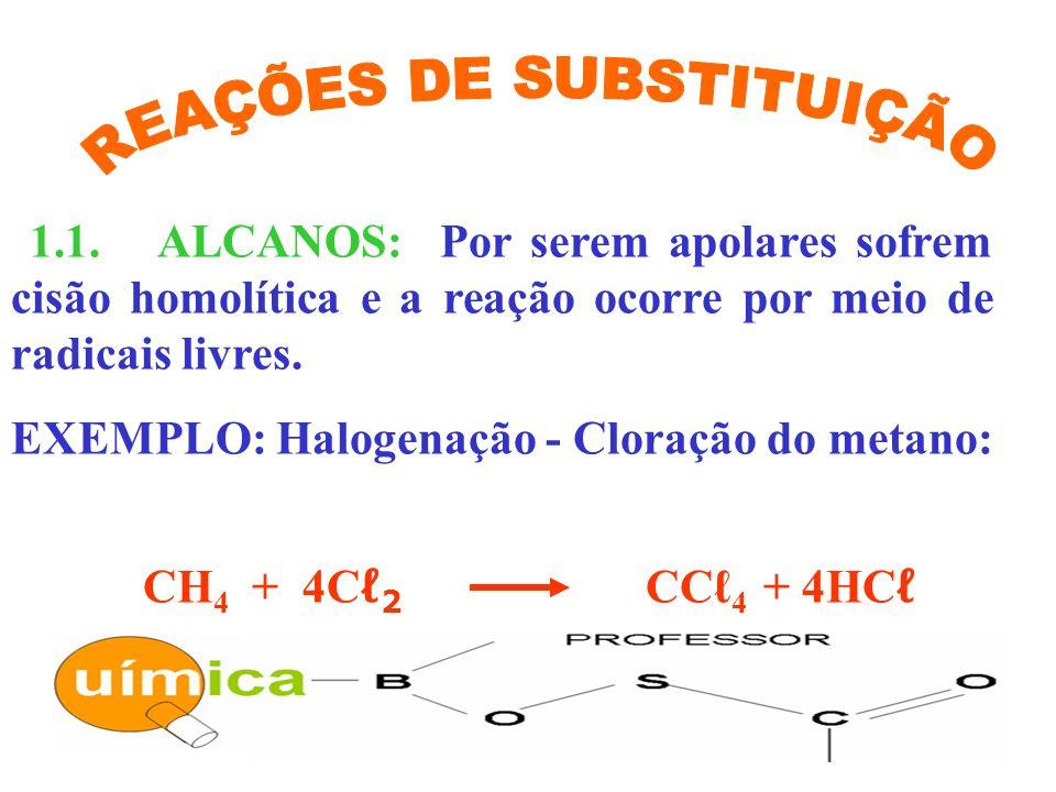 1.1. ALCANOS: Por serem apolares sofrem cisão homolítica e a reação ocorre por meio de radicais livres. EXEMPLO: Halogenação - Cloração do metano: CH