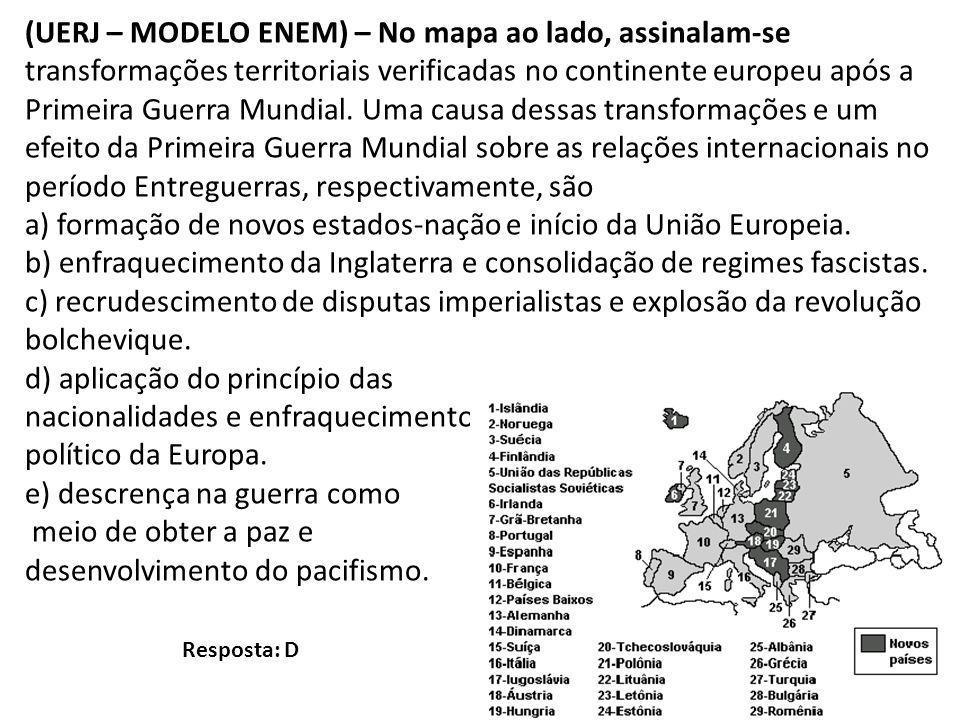 (UERJ – MODELO ENEM) – No mapa ao lado, assinalam-se transformações territoriais verificadas no continente europeu após a Primeira Guerra Mundial. Uma