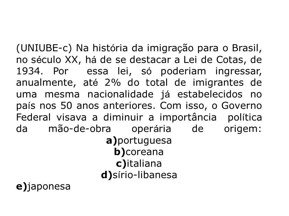(UNIUBE-c) Na hist ó ria da imigra ç ão para o Brasil, no s é culo XX, h á de se destacar a Lei de Cotas, de 1934. Por essa lei, s ó poderiam ingressa