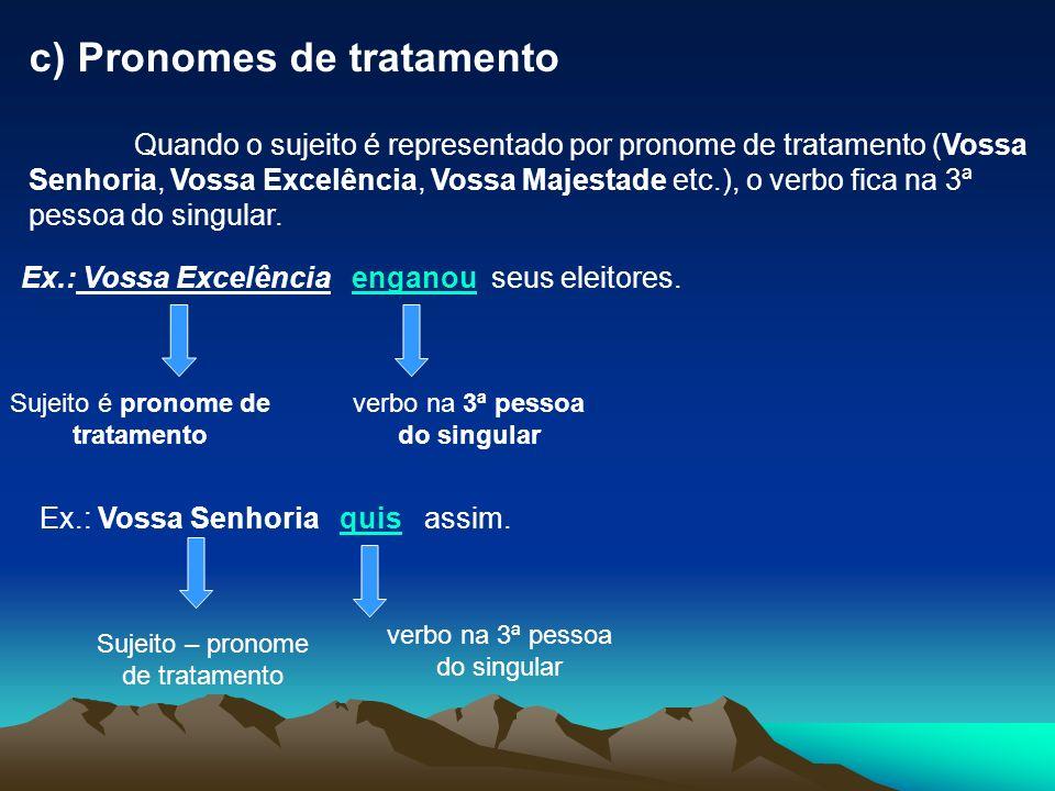 c) Pronomes de tratamento Quando o sujeito é representado por pronome de tratamento (Vossa Senhoria, Vossa Excelência, Vossa Majestade etc.), o verbo