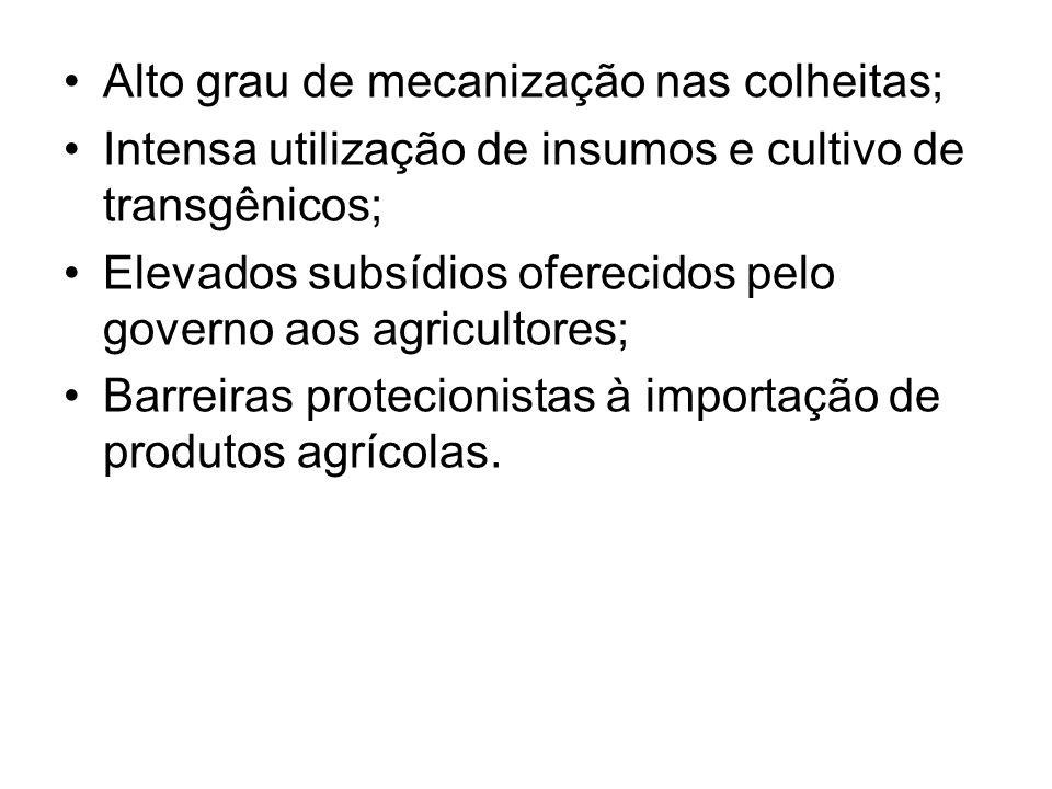 Alto grau de mecanização nas colheitas; Intensa utilização de insumos e cultivo de transgênicos; Elevados subsídios oferecidos pelo governo aos agricu