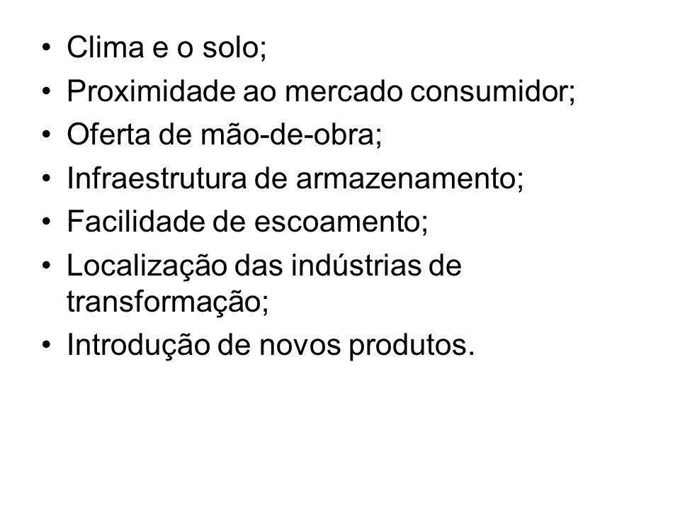 Clima e o solo; Proximidade ao mercado consumidor; Oferta de mão-de-obra; Infraestrutura de armazenamento; Facilidade de escoamento; Localização das i