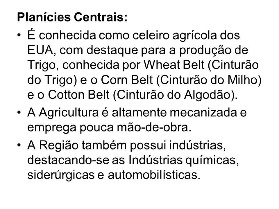 Planícies Centrais: É conhecida como celeiro agrícola dos EUA, com destaque para a produção de Trigo, conhecida por Wheat Belt (Cinturão do Trigo) e o