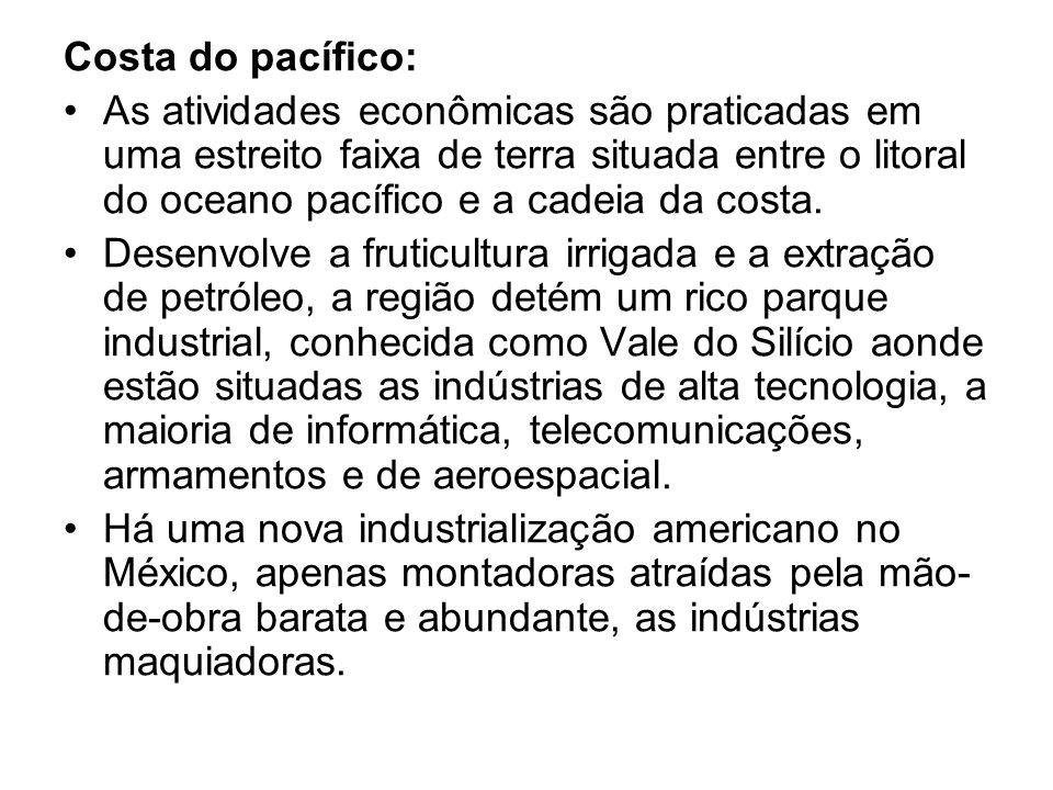 Costa do pacífico: As atividades econômicas são praticadas em uma estreito faixa de terra situada entre o litoral do oceano pacífico e a cadeia da cos