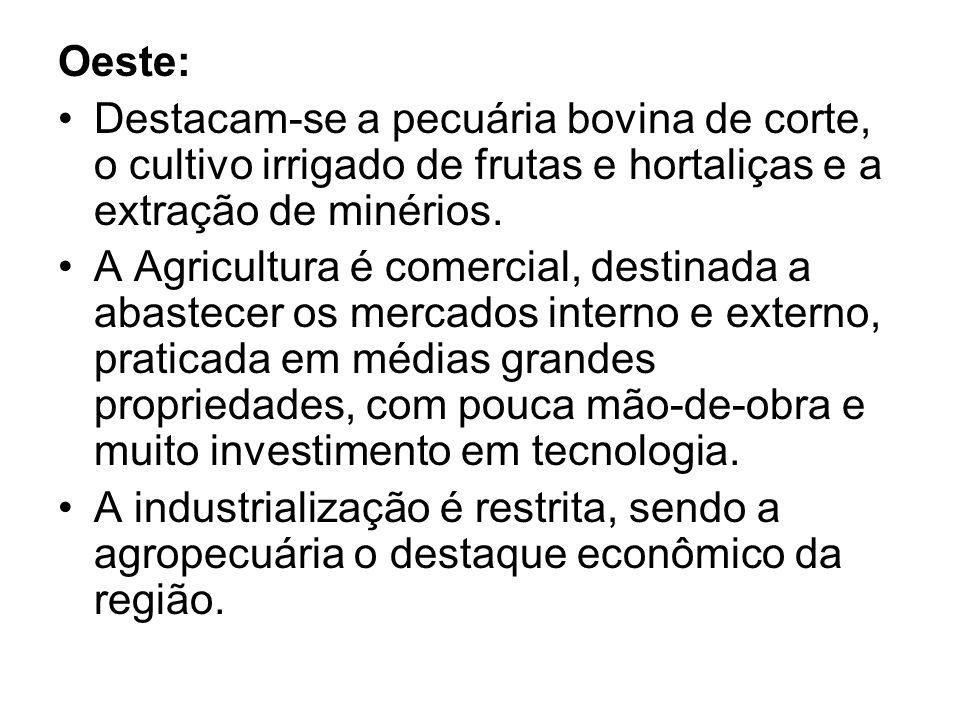 Oeste: Destacam-se a pecuária bovina de corte, o cultivo irrigado de frutas e hortaliças e a extração de minérios. A Agricultura é comercial, destinad
