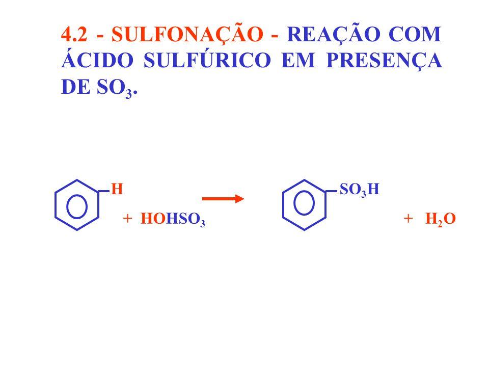 4.2 - SULFONAÇÃO - REAÇÃO COM ÁCIDO SULFÚRICO EM PRESENÇA DE SO 3. H SO 3 H + HOHSO 3 + H 2 O