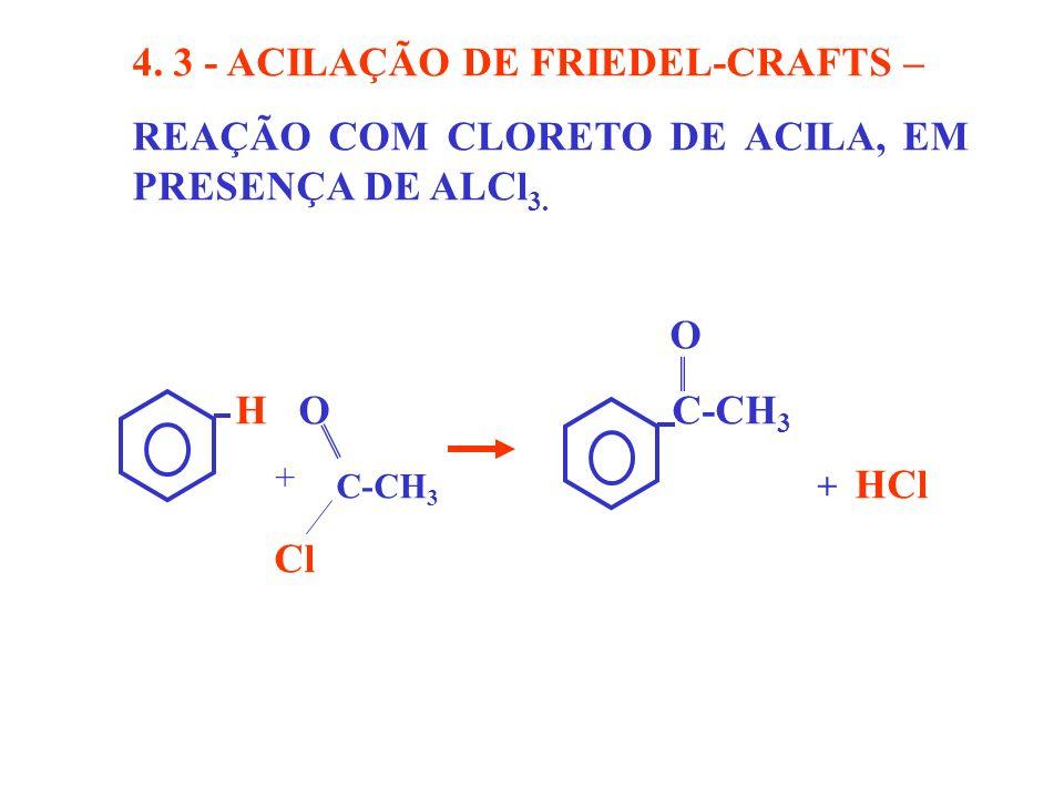 4. 3 - ACILAÇÃO DE FRIEDEL-CRAFTS – REAÇÃO COM CLORETO DE ACILA, EM PRESENÇA DE ALCl 3. O H O C-CH 3 C-CH 3 + HCl Cl +