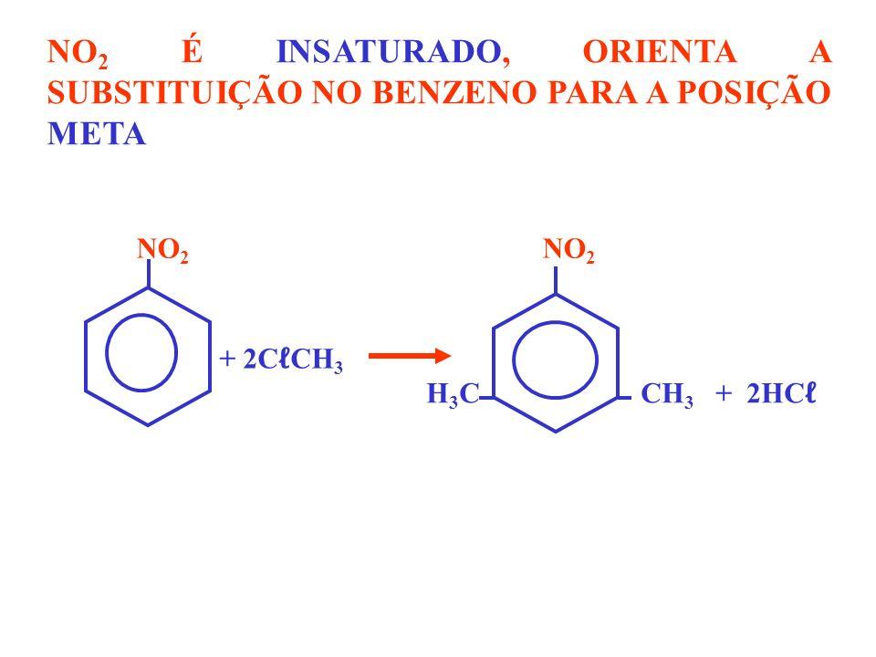 NO 2 É INSATURADO, ORIENTA A SUBSTITUIÇÃO NO BENZENO PARA A POSIÇÃO META NO 2 H 3 C CH 3 + 2HC + 2C CH 3