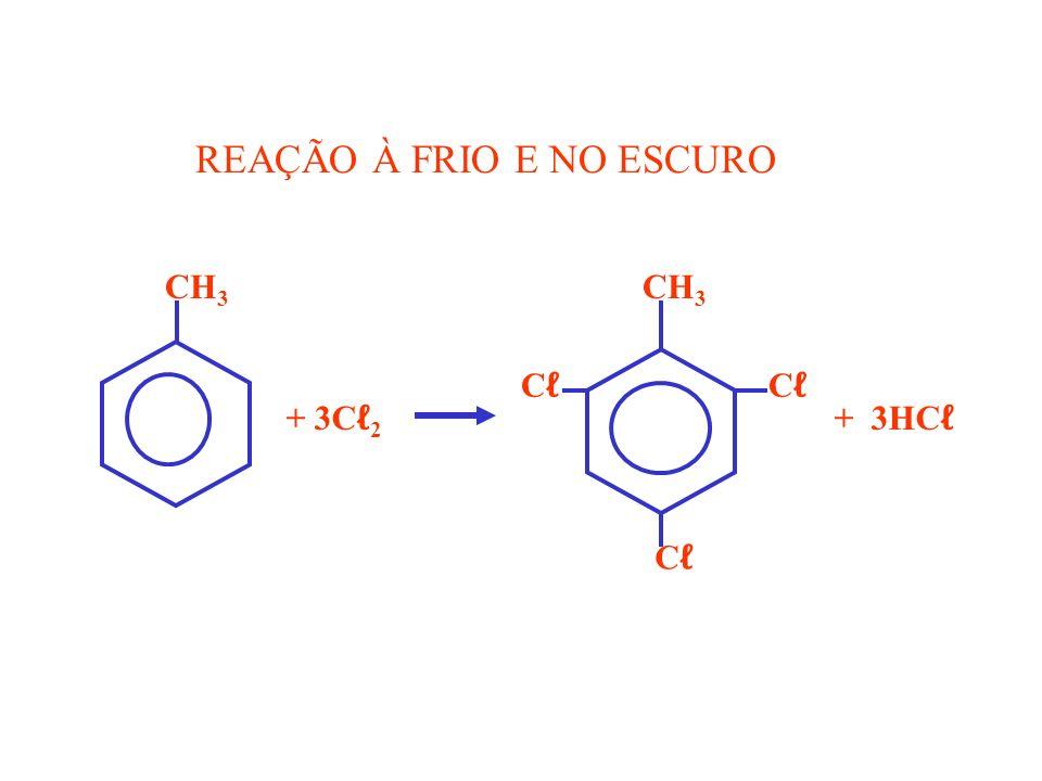 CH 3 CH 3 C C + 3C 2 + 3HC REAÇÃO À FRIO E NO ESCURO