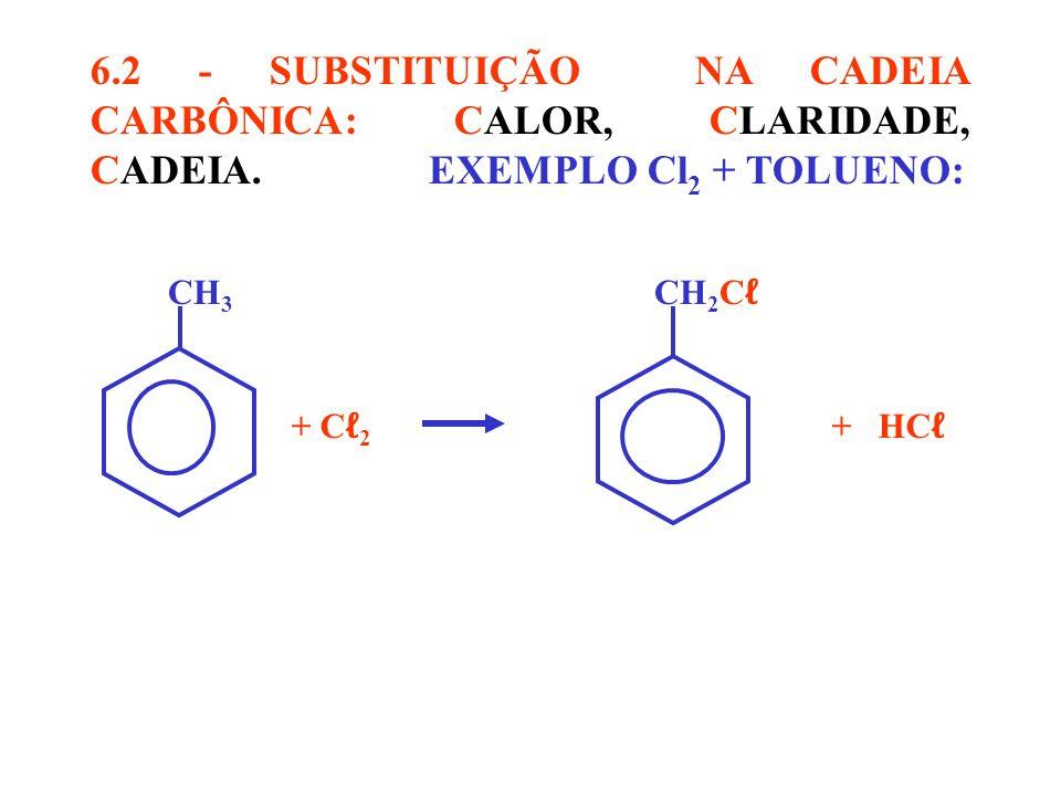 CH 3 CH 2 C + C 2 + HC 6.2 - SUBSTITUIÇÃO NA CADEIA CARBÔNICA: CALOR, CLARIDADE, CADEIA. EXEMPLO Cl 2 + TOLUENO: