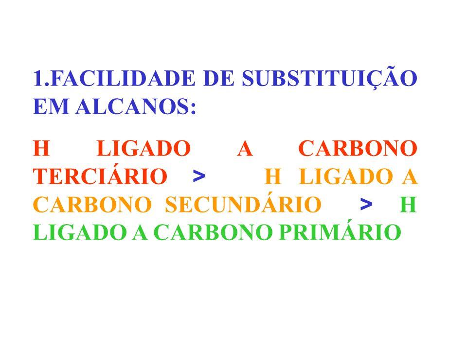 1.FACILIDADE DE SUBSTITUIÇÃO EM ALCANOS: H LIGADO A CARBONO TERCIÁRIO > H LIGADO A CARBONO SECUNDÁRIO > H LIGADO A CARBONO PRIMÁRIO