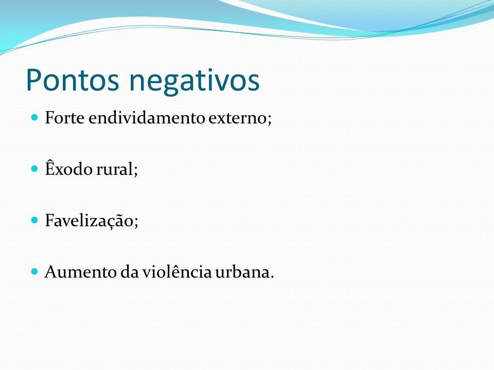 Pontos negativos Forte endividamento externo; Êxodo rural; Favelização; Aumento da violência urbana.